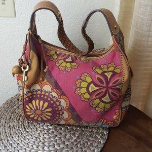 Fossil patterned fabric shoulder bag EUC